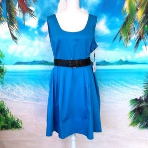 NWT Calvin Klein Blue Fit And Flare Dress Size 16
